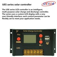 PWM 10A 20A LCD Solar Panel Battery Charge Controller Dual USB 12v 24v FG