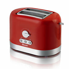 Swan Red 2 Slice Slot Bread Loaf Wide Toaster Variable Browning Defrost Reheat