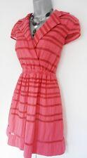 Impresionante Taylor Pink Stripe Camisa té Trinchera Noche día Vestido ocasión del Reino Unido 8/10