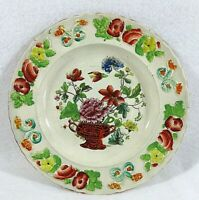 Antique Embossed 1820's Pearlware Overglaze Polychrome Enamel Plate