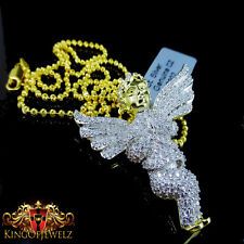 PURE STERLING SILVER YGOLD/P PRAYING HAND ANGEL CHARM PENDANT CHAIN NECKLACE SET