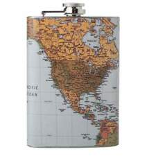 Maxam® 8oz Stainless Steel Flask with Antique World Map