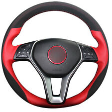 Red Genuine Leather Black Suede Car Steering Wheel Cover for Mercedes Benz B180