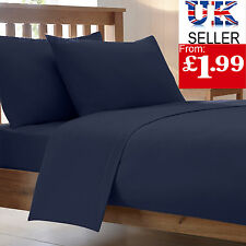 FITTED BED SHEETS LUXURY COMBED POLY COTTON PERCALE PLAIN BEDDING PILLOW CASES