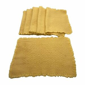 Set of 6 Yellow Placemats Weaved