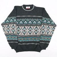 Vintage LAURENT CERRER ICELANDIC Green 00s Wool Fair Isle Jumper Mens L