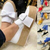 Women Wedge Platform Espadrilles Bow Pumps Slip On Comfy Loafers Shoes Size NEW