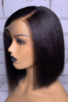 """10"""" Indian Remy Real Hair Wig Short Bob Straight Wig Lace Front Human Hair Wigs"""