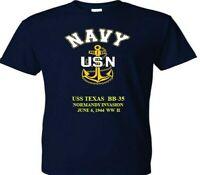 USS TEXAS  BB-35 NORMANDY 1944 WW II VINYL &SILKSCREEN NAVY ANCHOR SHIRT.