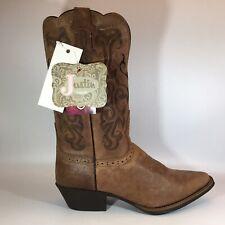 New NIB Justin Ladies Stampede Rugged Tan Cowhide Cowboy/Western 9-1/2B L2559