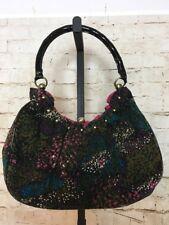 Lulu Guinness Boho Corduroy Handbag Black Patent Handle Pink Lining Gold