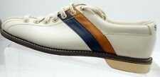 Striker by NSG Bowling Shoe Men's Size 6.5 Leather Beige Striped Brown Blue VTG