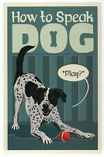 "4How to Speak Dog: "" Play "" Man's Best Friend With Ball - Modern Animal Postcard"
