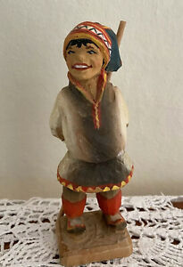 """Henning Hand Carved Wood Norwegian Ethnic Boy With Spear 5.5"""""""