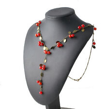 Fashion Women Vintage Red Cherries Necklace Long Chain Pendant Charm Jewelry