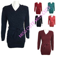 WOMEN JUMPER DRESS LADIES LONG SLEEVE STRETCH V NECK BELTED BUBBLE KNITTED TUNIC