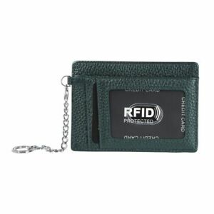 Black Color Wallet with Keychain PU Leather Credit Card Holder for Women Men