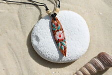 NEW WOODEN RETRO FLOWER SURFBOARD NECKLACE SURFER SURF LUCKY TALISMAN / n243a