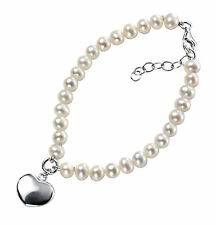 925 Sterling Silver 'Elements Silver' White Pearl Bracelet with Puff Heart