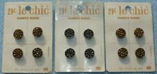 12 Vintage LE CHIC GLASS LUSTER BUTTONS on Original Card Stock Gold & Silver