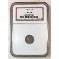 1862 Three Cent Silver NGC AU58 ***Rev Tye's Stache*** #7004189