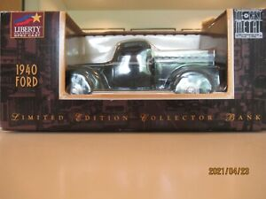 1:25 Liberty Classics by Spec Cast 1940 Ford pick up truck black & gray bank