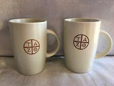Pair Tazo Starbucks Tall Tea Coffee Cups Mugs 11.8 oz Two Stoneware 2012 EUC
