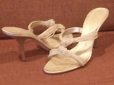 Giuseppe Zanotti Leather Beaded Sandals, Light Beige, Size US 9.5/IT 40