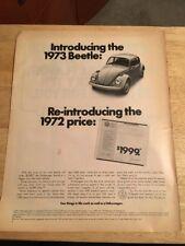 Vintage 1972 Magazine Print Ad - 1973 VOLKSWAGEN VW BEETLE