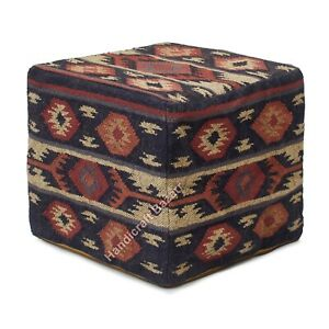 "Ottoman Cover Vintage Kilim Pouf Cover 18"" Cube Ottoman Pouffe Case Hand Woven"