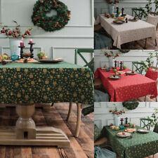 Christmas Tablecloth Cotton Linen Snowflakes Rectangular Table Cloth Cover Decor