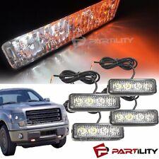 4x 4-LED White Amber Warning Emergency Beacon Strobe Flash Light Bar Car Truck