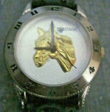 MONTANA SILVERSMITH LADIES HORSE FACED WRIST WATCH WITH LEATHER STRAP