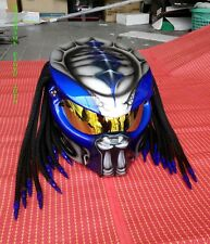BLUE CUSTOM PREDATOR MOTORCYCLE HELMET