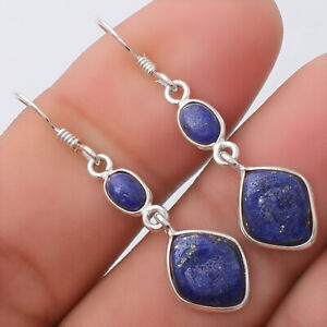 Natural Lapis - Afghanistan 925 Sterling Silver Earrings Jewelry 7010