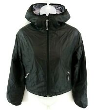 ARMANI EXCHANGE Womens Jacket Coat XS Black Nylon & Cotton Hooded Cropped