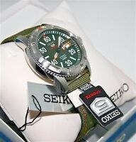 Seiko Watch 5 Sports Mens Military GRN Band 100M 24J Automatic SRP215K2 Watch