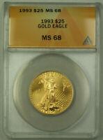 1993 $25 American Gold Eagle Coin AGE 1/2 Oz ANACS MS-68