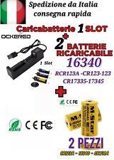 2x BATTERIE CR123A 16340 17335 RICARICABILE ORIGINALE M.STAR + CARICABATTERIE 1S