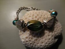 """Accent Bead Bracelet, 7"""" Glass Bead and Silver Leaf"""
