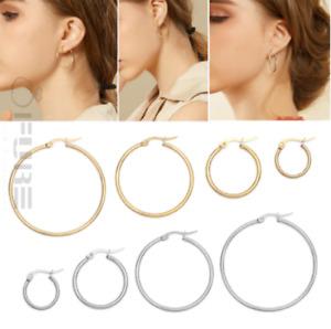 Women's Ladies Silver 14K Gold Plated Surgical Steel Round Hoop Basket Earrings