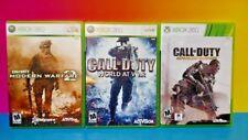 3 Games XBOX 360 Complete Call of Duty Modern 2 Advanced Warfare World at War