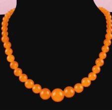 Rare 6-14mm Orange Jade Gems Bead Necklace 18''