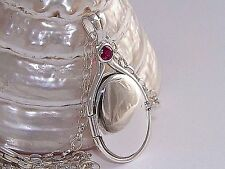 "925 Sterling Silver 0.41ct.4mmNatural Ruby Locket H2O Just Add Water +18.5""Chain"