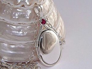 """H2O 925 Sterling Silver 4mm Natural Ruby Locket H2O Just Add Water +18.5""""Chain"""