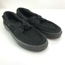 VANS Zapato Del Barco Black Boat Shoes Womens  6.5 Mens 5 Pinched Canvas Loafer