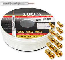 Cable De Satélite 100m 135dB Clase A + coaxial Antena HD ,135 máximo 140 DB
