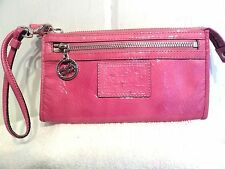 Coach Poppy Pink Patent Leather Front Top Zip Large Wristlet Wallet Handle