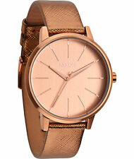 NIXON  A108-1923  ROSE GOLD SHIMMER LEATHER KENSINGTON WATCH