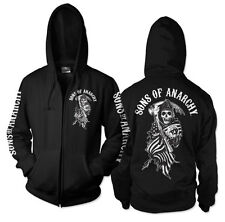 Officially Licensed Sons Of Anarchy SOA American Reaper Zipped Hoodie S-XXL Size